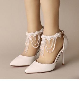 De mujer Cuero Tacón stilettos Cerrados Salón con Hebilla Perlas de imitación Borla Crystal