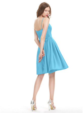 A-Line V-neck Knee-Length Satin Homecoming Dress