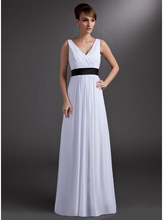 Трапеция/Принцесса V-образный Длина до пола шифон Платье Подружки Невесты с Лента