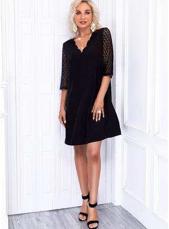 Solide Shiftjurken 1/2 Mouwen Mini Zwart jurkje Elegant ()