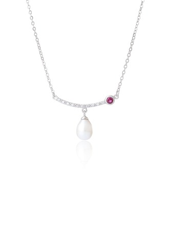 Sterling Silver Pearl Necklace With Diamond