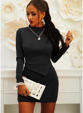 Einfarbig Figurbetont Lange Ärmel Mini Kleine Schwarze Lässige Kleidung Elegant Modekleider
