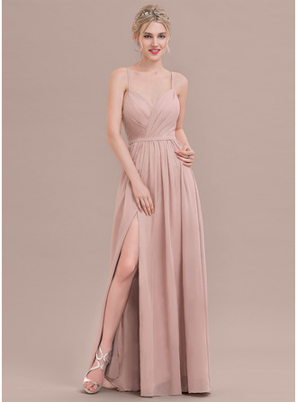 A-Line Sweetheart Floor-Length Chiffon Prom Dresses With Ruffle Split Front