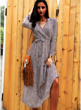 Print A-line Long Sleeves Midi Casual Skater Wrap Dresses