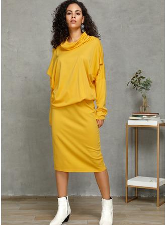 Solid Bodycon Long Sleeves Midi Elegant Pencil Dresses