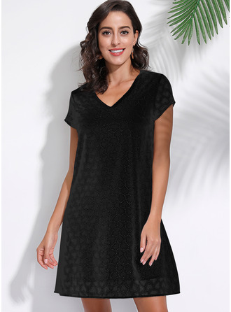 Lace Solid Shift Short Sleeves Mini Little Black Casual Dresses