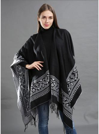 Retro /Vendimia de gran tamaño/Clima frío La lana artificial Poncho