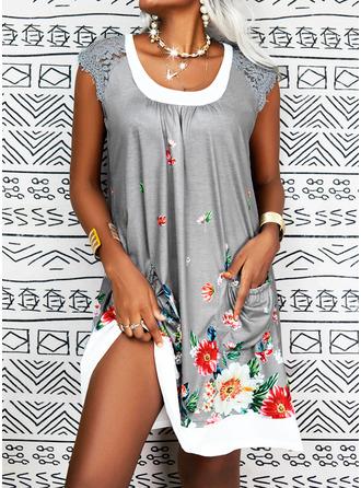 Floral Print Shift Midi Casual Dresses