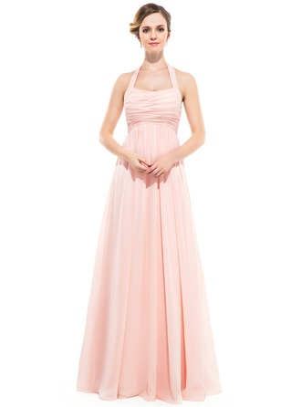 Empire Halter Floor-Length Chiffon Bridesmaid Dress With Ruffle