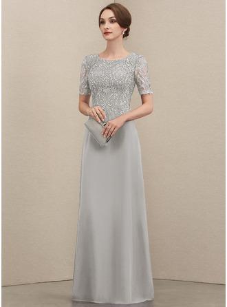 A-Linie U-Ausschnitt Bodenlang Chiffon Spitze Kleid für die Brautmutter