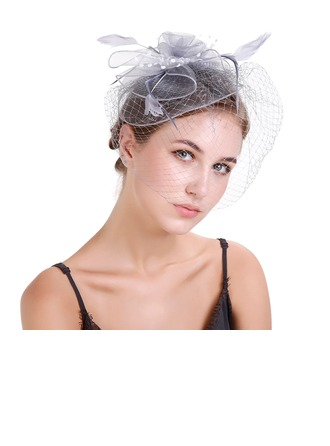 Dames Klassiek Feather/Netto garen met Feather Fascinators