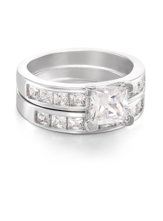 Sterling zilver Zirconia Halo Princess Cut Belofte ringen Bruids sets -