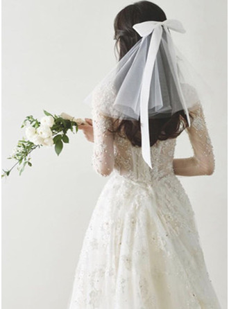 Two-tier Cut Edge Russian Veils With Satin Bow