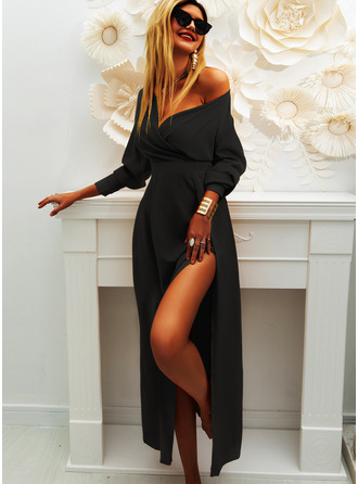 Solid Sheath Long Sleeves Midi Little Black Party Dresses
