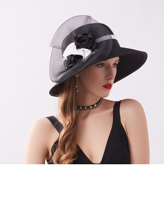 Ladies' Elegant/Fancy Satin With Tulle Beach/Sun Hats/Kentucky Derby Hats/Tea Party Hats
