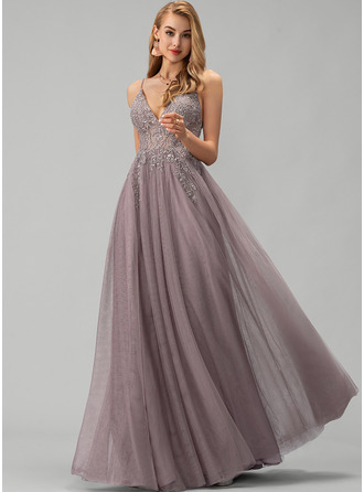 A-Line V-neck Floor-Length Tulle Evening Dress With Lace Beading Sequins Split Front