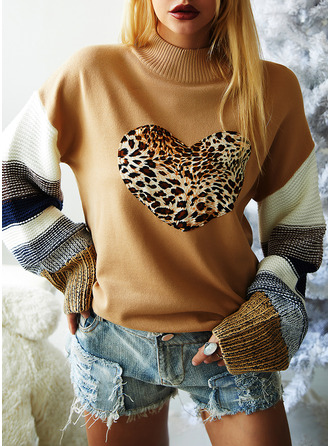Turtleneck Casual Leopard Color Block Sweaters