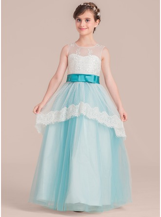 A-Line/Princess Scoop Neck Floor-Length Junior Bridesmaid Dress With Bow(s)