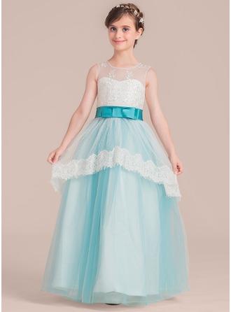 A-Linie/Princess-Linie U-Ausschnitt Bodenlang Tüll Kleid für junge Brautjungfern mit Schleife(n)