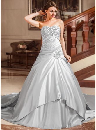 Ball-Gown Sweetheart Watteau Train Satin Wedding Dress With Ruffle Lace Beading Sequins