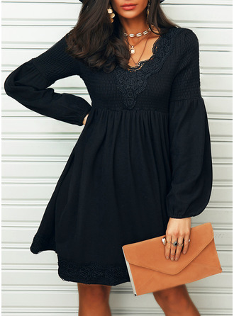 Lace Solid Shift Long Sleeves Mini Little Black Casual Tunic Dresses
