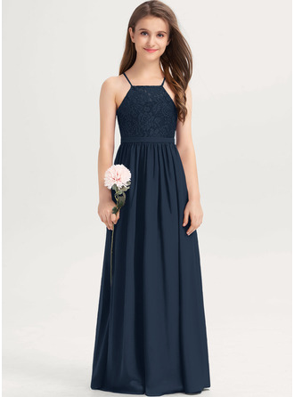 A-Line Square Neckline Floor-Length Chiffon Lace Junior Bridesmaid Dress With Bow(s)