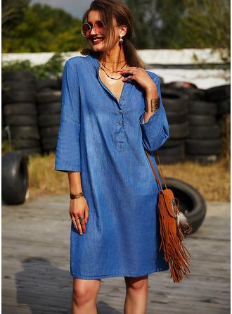Solid Shift Long Sleeves Mini Denim Casual Tunic Dresses