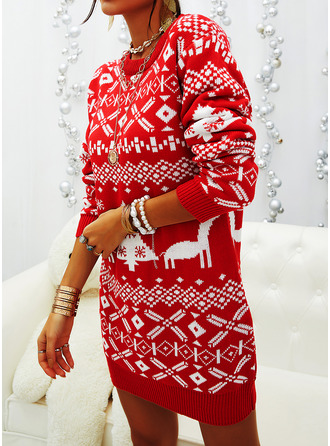 Round Neck Casual Christmas Long Print Christmas Sweaters