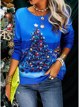 Print Round Neck Long Sleeves Christmas Sweatshirt (1001254711)