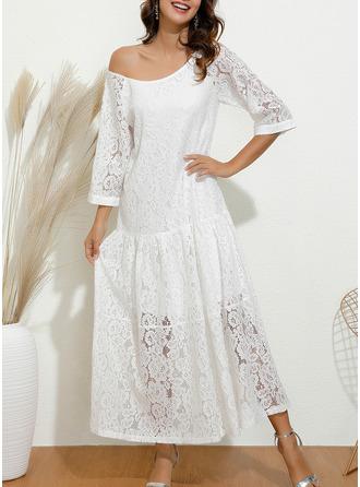 Spets Solid Shiftklänningar 3/4 ärmar Maxi Den lilla svarta Fritids Elegant Modeklänningar