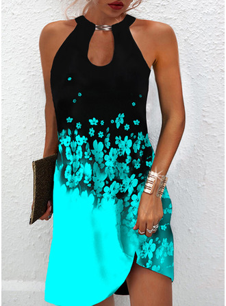 Color Block Floral Print Shift Sleeveless Mini Elegant Dresses