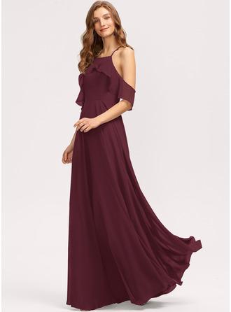 A-Line Square Neckline Floor-Length Chiffon Bridesmaid Dress