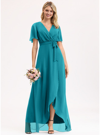 A-Line V-neck Asymmetrical Chiffon Evening Dress With Bow(s)