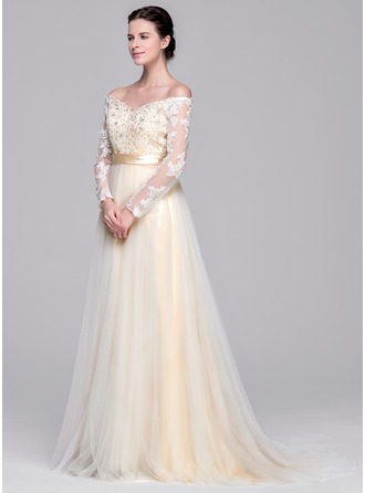 A-Line/Princess Off-the-Shoulder Sweep Train Tulle Wedding Dress With Beading Appliques Lace Sequins Bow(s)