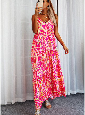Print Shift Sleeveless Maxi Casual Type Dresses