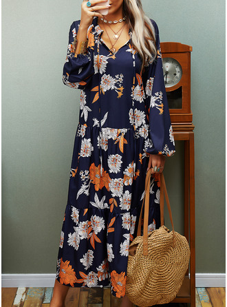 Print Shift Long Sleeves Midi Casual Dresses