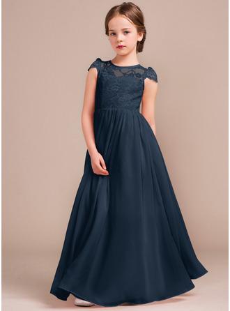 Çan/Prenses Yuvarlak Yaka Uzun Etekli Şifon Dantel Küçük Nedime Elbisesi