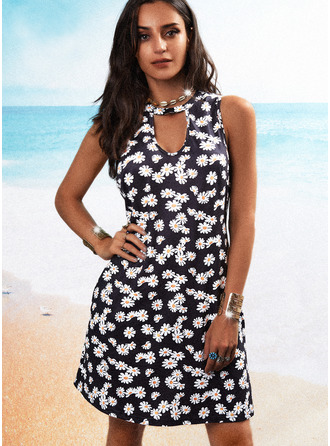 Floral Estampado Vestidos soltos Sem mangas Mini Casual Vestidos na Moda