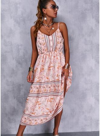 Bloemen Print A-lijn-jurk Mouwloos Medium Boho Casual Vakantie schaatser Typ ()
