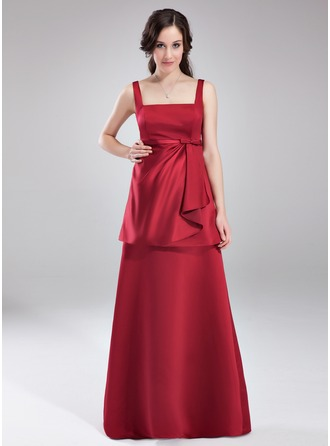 Empire Square Neckline Floor-Length Satin Maternity Bridesmaid Dress With Bow(s) Cascading Ruffles