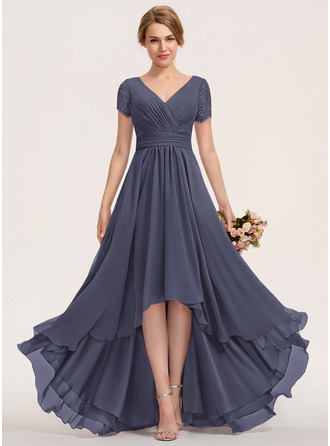 A-Line V-neck Asymmetrical Chiffon Lace Evening Dress With Ruffle