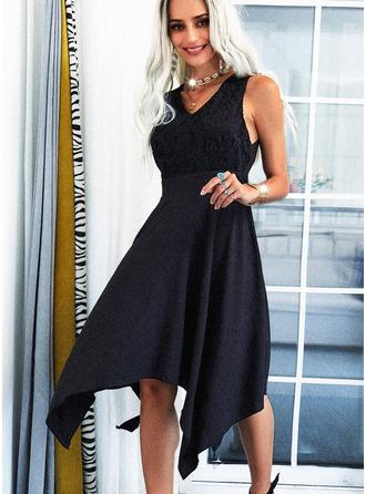 Sólido Vestido línea A Sin mangas Asimétrico Pequeños Negros Elegante Patinador Vestidos de moda