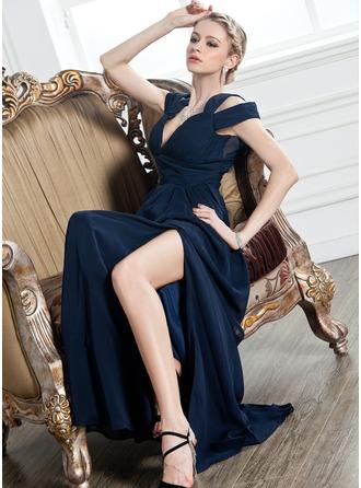 A-Linie/Princess-Linie V-Ausschnitt Bodenlang Chiffon Abendkleid mit Rüschen Schlitz Vorn