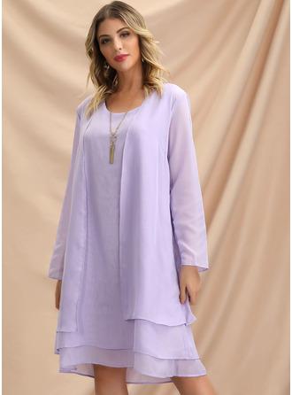 Solid Shiftklänningar Långa ärmar Midi Elegant Modeklänningar