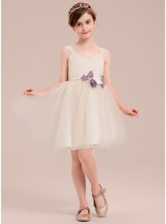 Forme Princesse Longueur genou Robes à Fleurs pour Filles - Tulle Sans manches Col V avec Fleur(s)/Strass