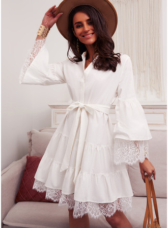 Lace Solid A-line Flare Sleeve Long Sleeves Mini Elegant Skater Dresses