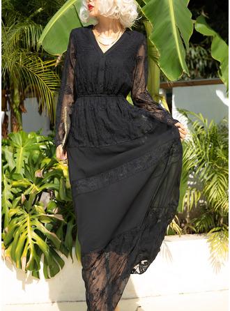 Solid A-linjeklänning 3/4 ärmar Maxi Den lilla svarta Fritids skater Modeklänningar