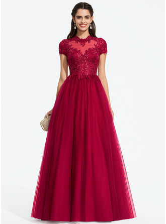 d96823e83bdf Ball-Gown/Princess Scoop Neck Floor-Length Tulle Prom Dresses With Sequins