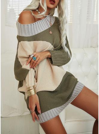 Color Block Long Sleeves Casual Long Sweater Dress Dresses