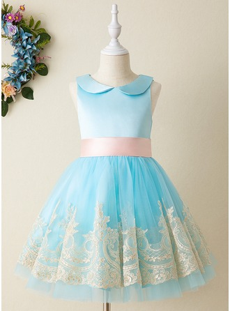 A-Line Knee-length Flower Girl Dress - Tulle/Lace Sleeveless Peter Pan Collar With Lace/Bow(s) (Undetachable sash)